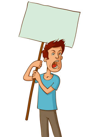 angry protester holding a white sign, vector cartoon Illustration