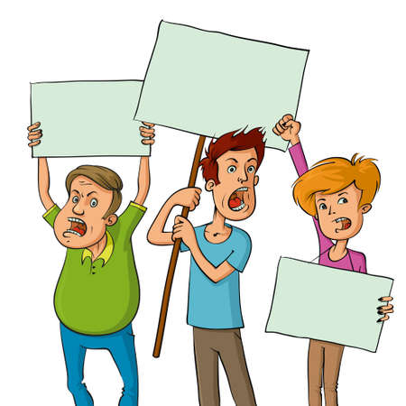 illustration of a group of protesters holding signs Illustration