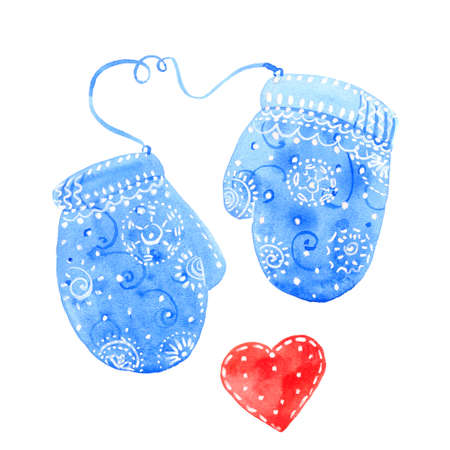 Two mittens, watercolor illustration on white background Stock Photo