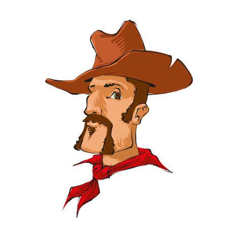 desperado: cowboy character  with brown hat, vector cartoon