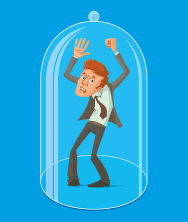man under a glass protective dome, vector illustration