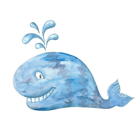 cartoon whale: Smiling blue whale, watercolor illustration on a white background Stock Photo