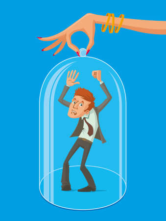 glass dome: womans hand controls the man. A man covered with a glass dome, vector illustration
