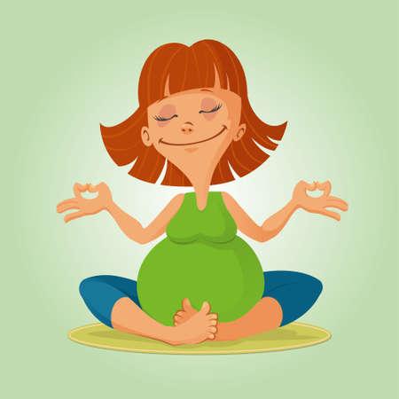 illustration of a smiling pregnant woman doing yoga exercises Illustration