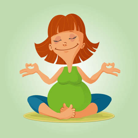 illustration of a smiling pregnant woman doing yoga exercises Vectores
