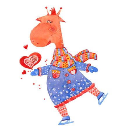 clip art people: giraffe on skates, watercolor illustration on white background Stock Photo