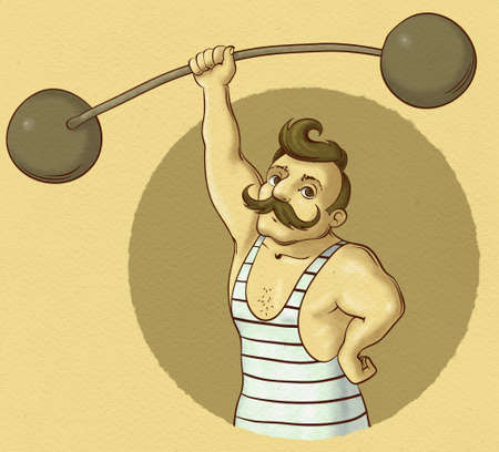 illustration of vintage circus strongman holding barbell Imagens