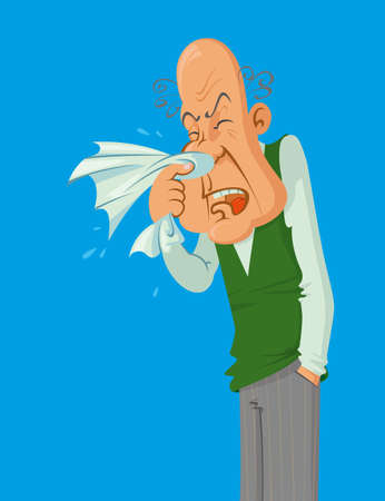 sick people: older man blowing his nose with a handkerchief