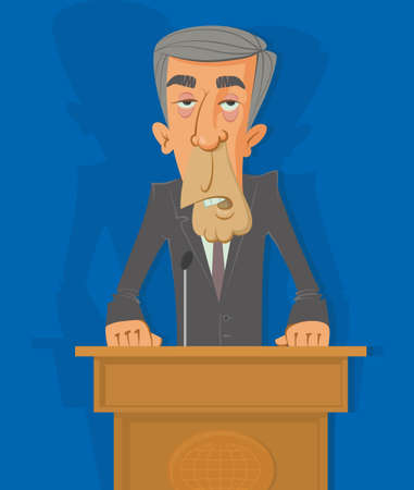venal: man in a suit on the podium