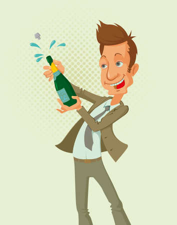 job opening: smiling successful man opening a bottle of champagne Illustration