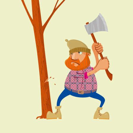 Lumberjack with an ax chopping wood