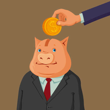 capitalist: hand putting coin into a piggy bank dressed up in suit Illustration