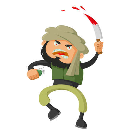 extremist: terrorist with a bloody knife, illustration