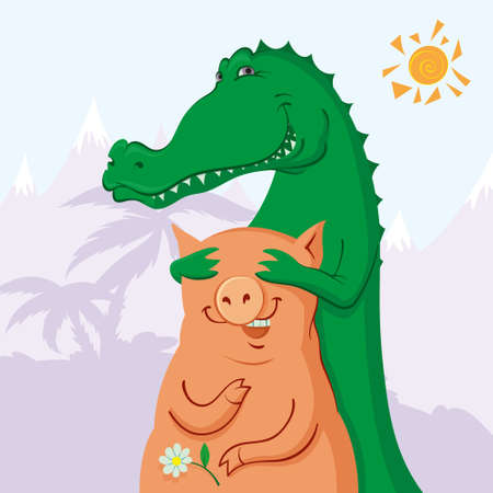 liking: the first date of crocodile and pig