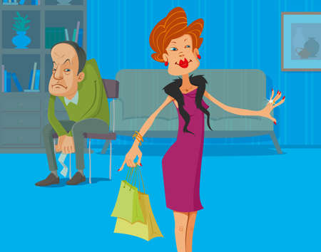 upset woman: Upset man with receipt in the hands and his shopaholic wife with shopping bags