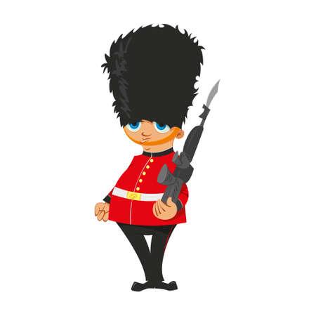 bearskin hat: Illustration of a British Royal Guard in red uniform Illustration