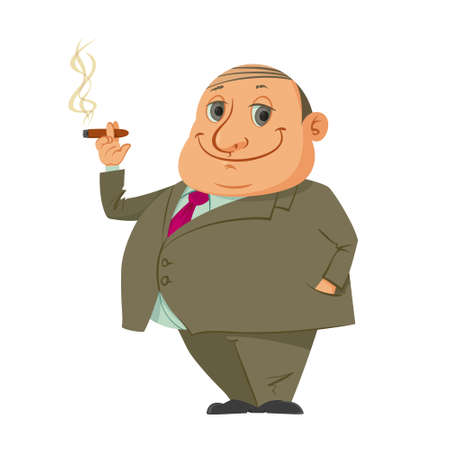 portrait of rich man smoking cigar, cartoon