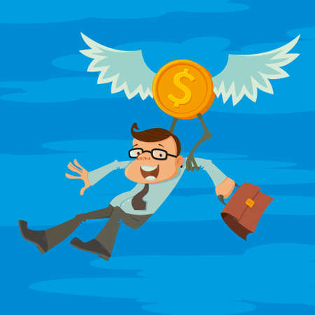 flying man: man flying on the wings of financial success