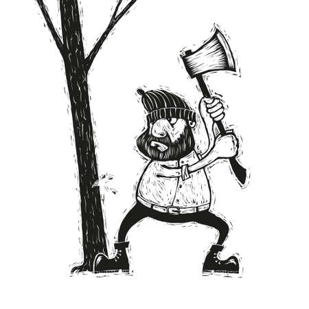 Black and white illustration of lumberjack with an ax chopping wood