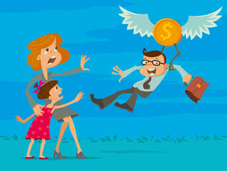 cling: man flying on the wings of financial success away from family Illustration