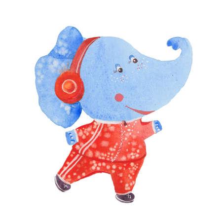 tracksuit: elephant jogging, watercolor illustration  on white background
