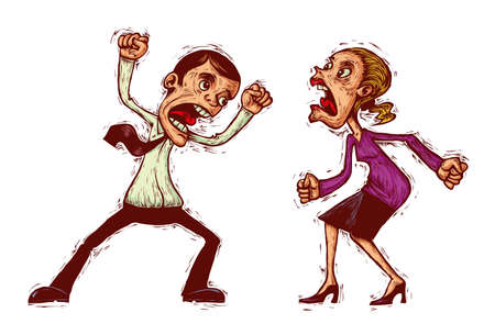 couple conflict, man and woman shouting at each other
