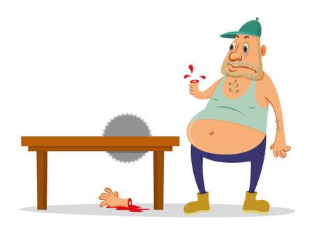circular saw: Cartoon man injured circular saw, drops of blood Illustration