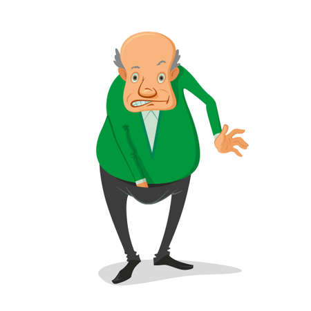 illustration of balding man with his hand in his pants  イラスト・ベクター素材
