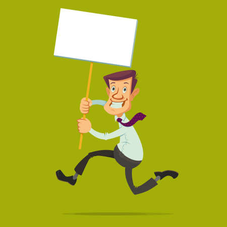 wooden stick: running businessman holding a White Board banner on a wooden stick