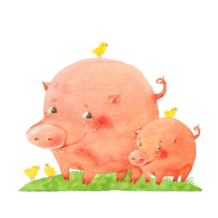 pig with wings: two pigs and birds, watercolor illustration on a white background