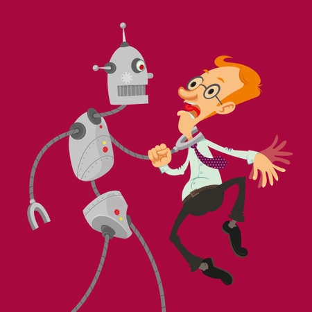 Aggressive robot attacked intelligent man with glasses Illustration