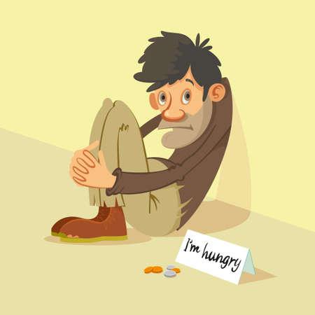 Homeless hungry beggar begs for money