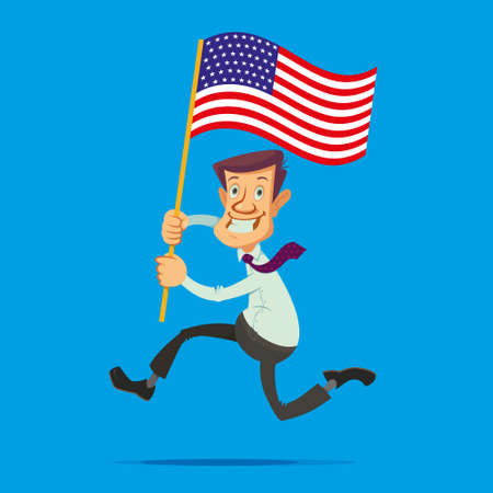 Happy smiling man with the American flag running towards the dream Illustration