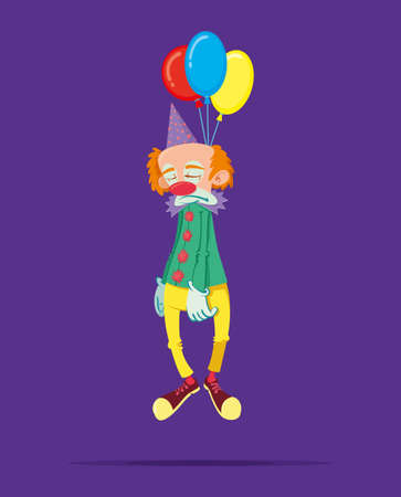 hanged: sad clown hanged himself on a balloons