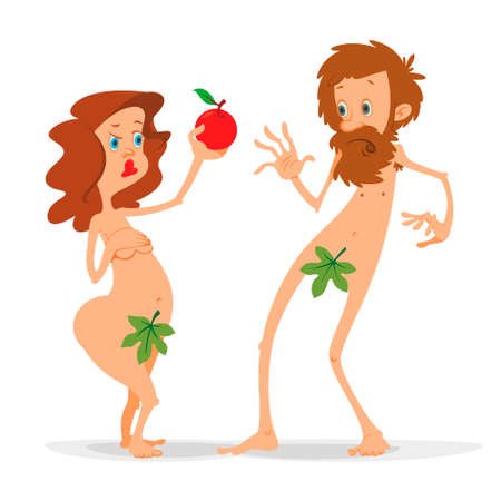 Adam and Eve with a red apple cartoon illustration