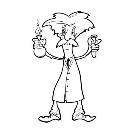 Cartoon scientist wearing a white coat with flasks