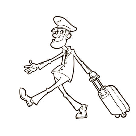 airline pilot: civil airline pilot in uniform walking and carrying suitcase