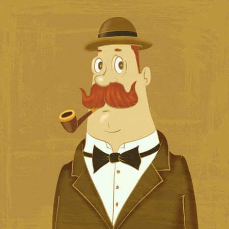 bowler hat: gentleman in bowler hat with a pipe Stock Photo