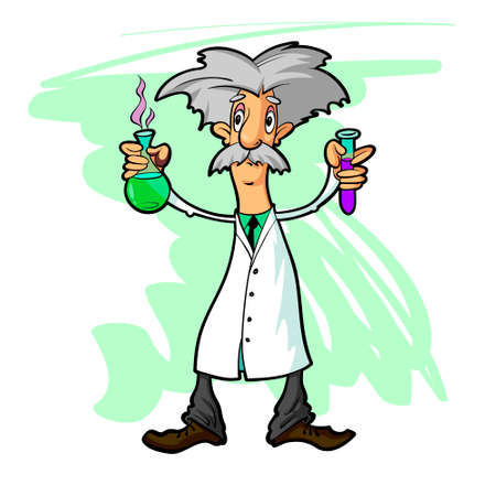 flasks: Cartoon scientist wearing a white coat with flasks