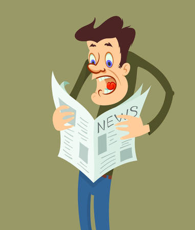 bad news: Shocked man reading a newspaper with bad news. Human emotion, facial  expression Illustration