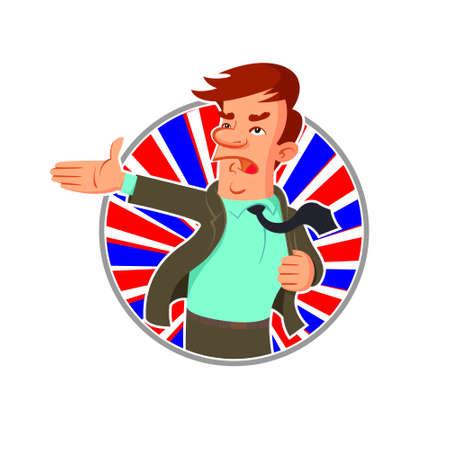 campaign promises: Cartoon politician says a speech, emblem round shape