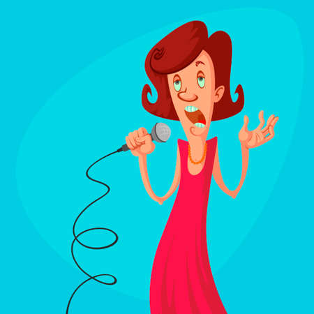 woman vector character singing and holding microphone