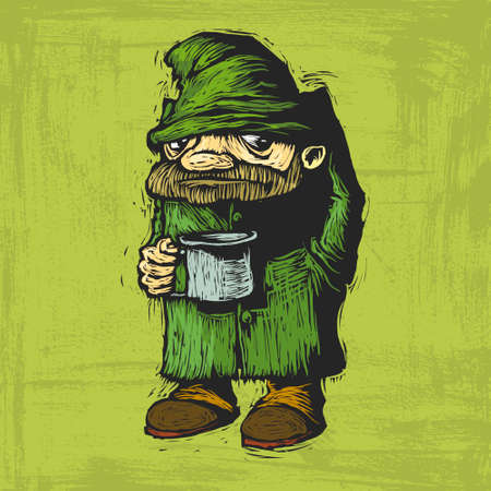dirty clothes: homeless in dirty clothes with mug in hand begging. Vector cartoon