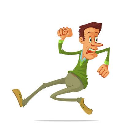 run away: Illustration very frightened  man run away, vector cartoon