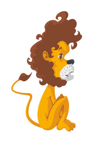 lion tail: illustration of a sad lion, vector cartoon character