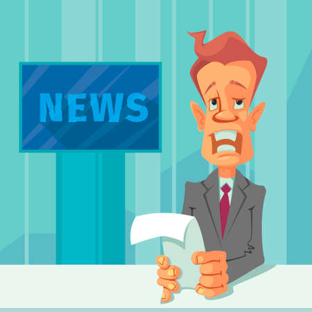 newscast: Anchorman with the release of breaking news Illustration