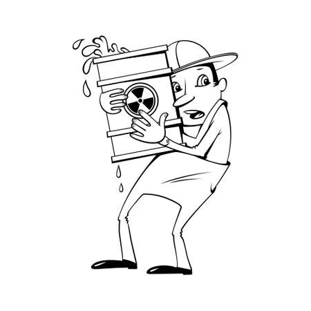 toxic accident: Worker holding a barrel with a radioactive substance Illustration