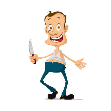 maniac: horror maniac murderer with knife cartoon character Illustration