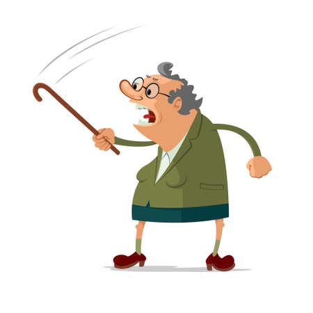 mature adult: Angry old woman scolding someone, waving her cane