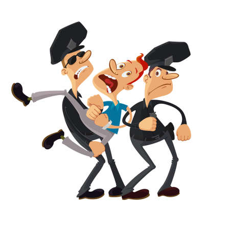 two police officers and resisting arrested man Illustration